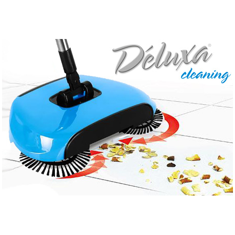 Deluxa Cleaning - Scopa Rotante, Paletta e Pattumiera Tutto-in-1