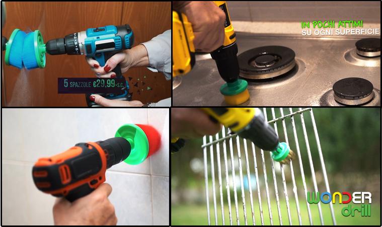 WONDER DRILL la prima linea professionale di spazzole 100% italiane , per rivoluzionare il sistema di pulizia domestica