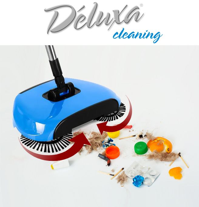 Deluxa Cleaning La Scopa Rotante, Paletta e Pattumiera Tutto-in-1
