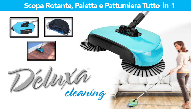 Deluxa Cleaning a €19,90 - Scopa Rotante, Paletta e Pattumiera Tutto-in-1