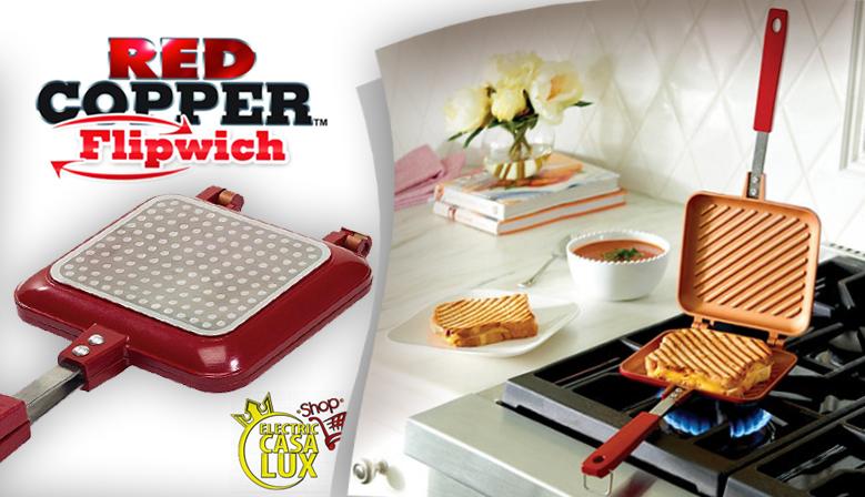 Red Copper Flipwich - La Piastra Multiuso progettato con due piastre ad incastro perfetto per preparare in modo semplice e veloce panini golosissimi!