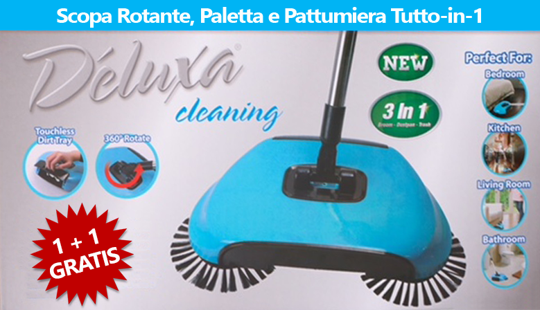 Deluxa Cleaning OFFERTA 2x1 - Scopa Rotante, Paletta e Pattumiera Tutto-in-1