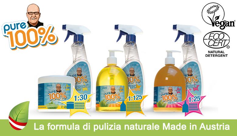 Pure100% la vera innovazione nel mondo dei prodotti ecofriendly per la pulizia e l'igiene della casa
