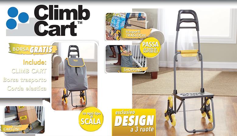 The Climb Cart - Il più affidabile dei carrelli saliscale con meccanismo brevettato a 3 ruote che consente di salire e scendere senza sforzo e senza rischi